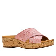 Patricia Nash Luca Leather Cork Wedge Slide
