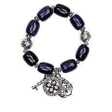 Patricia Nash Romantic Travel Beaded Stone Stretch Bracelet