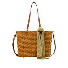 Patricia Nash Talara Specialty Woven Straw Tote with Purse Scarf