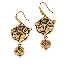 Patricia Nash Tooled Flower Vine Medallion Drop Earrings
