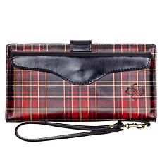 Patricia Nash Valentia Foiled Tartan Leather Wallet Wristlet