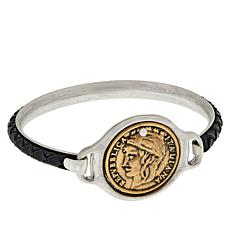 Patricia Nash World Coin Braided Leather Bangle Bracelet