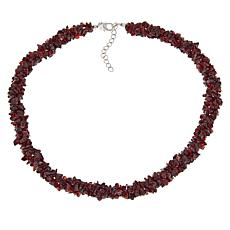 "Paul Deasy Gem 18"" Sterling Silver Garnet Chip Necklace"