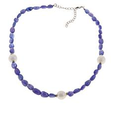 "Paul Deasy Gem 18"" Tanzanite and Cultured Pearl Beaded Necklace"