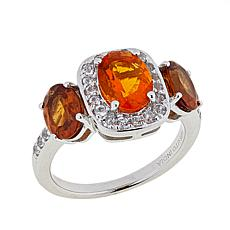 Paul Deasy Gem 2.34ctw Fire Opal, Hessonite Garnet & White Topaz Ring