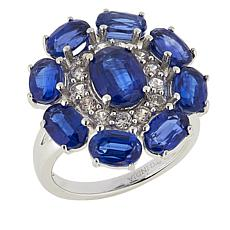 Paul Deasy Gem 6.95ctw Kyanite and White Zircon Sterling Silver Ring