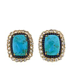 Paul Deasy Gem Kingman Turquoise, Sapphire and White Topaz Earrings