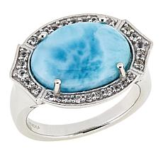Paul Deasy Gem Larimar and White Topaz East/West Ring