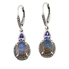 Paul Deasy Gem Oval Gem, Tanzanite and White Zircon Drop Earrings