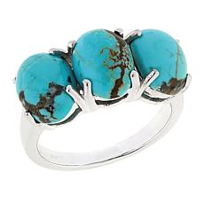Paul Deasy Gem Sterling Silver 3-Stone #8 Turquoise Ring