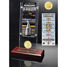 Penguins 5-Time Stanley Cup Champ Ticket Bronze Acrylic