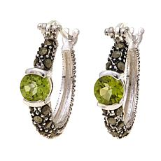 Peridot and Gray Marcasite  Hoops - August