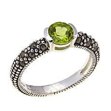 Peridot & Gray Marcasite Sterling Silver Ring - August