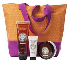 Perlier Caribbean Vanilla 3-piece Kit with Woven Tote  Bag