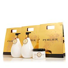 Perlier Shea Butter Sweet Almond Milk 3pc Bath and Body Set with Bags