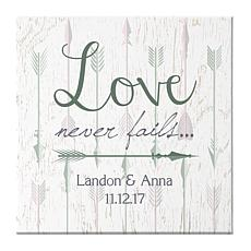 "Personal Creations Personalized Love Never Fails Arrow Canvas- 11""x11"""