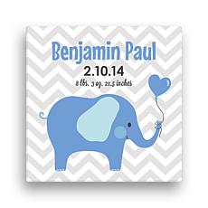 "Personalized 12"" x 12"" Elephant Canvas - Baby Boy"
