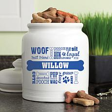 Personalized Dog Words Blue Treat Jar