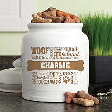 Personalized Dog Words Brown Treat Jar