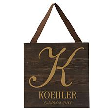 Personalized Initial & Name Espresso-Colored Wooden Plaque - 9-3/4""