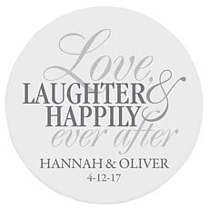 "Personalized ""Love, Laughter, Happily Ever After"" Wooden Plaque  - 12"""