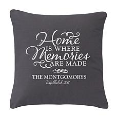 "Personalized ""Where Memories Are Made"" Throw Pillow - 15"" x 15"""