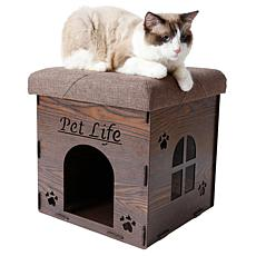 Pet Life Collapsible Designer Cat House Furniture Bench
