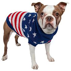 Pet Life Patriot Independence Star Ribbed Turtleneck Dog Sweater