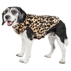 Pet Life Poocheetah Spotted Cheetah Pattern Faux Mink Fur Dog Coat