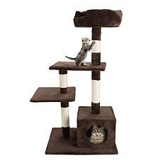 PETMAKER 4-Tier Cat Tree Scratching Posts and Perch Platforms - Brown