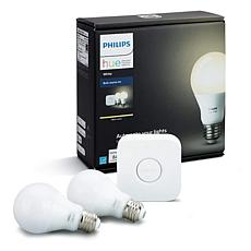 Philips Hue Starter Kit with 2 White A19 Bulbs and Hue Bridge