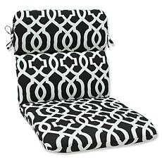Pillow Perfect Geo Rounded Chair Cushions - Black-White
