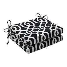 Pillow Perfect Set of 2 Geo Squared Seat Cushions - Bla