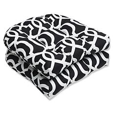 Pillow Perfect Set of 2 Geo Wicker Seat Cushions - Blac
