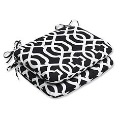 Pillow Perfect Set of 2 Seat Cushions - Black/White