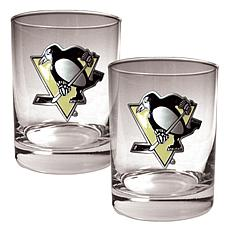 Pittsburgh Penguins 2pc Rocks Glass Set
