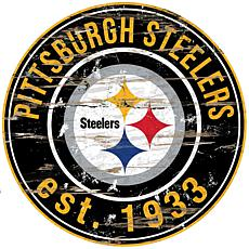 Pittsburgh Steelers Round Distressed Sign