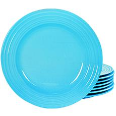"Plaza Cafe 10.5"" Dinner Plate Set in Turquoise, Set of 8"