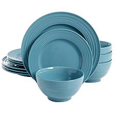 Plaza Cafe 12 pc Dinnerware Set - Turquoise - Solid Color - Stonewa...