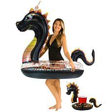 "Pool Candy Glitter Dragon 48"" Black Glitter Tube w/ Drink Float"