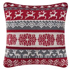 Prancing Reindeer Knit Pillow