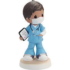 Precious Moments Boy Healthcare Worker Figurine Black Hair/Medium Skin