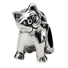 Prerogatives Sterling Silver Antique Cat Bead