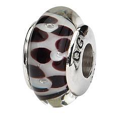 Prerogatives Sterling Silver Brown Floral Handblown Glass Bead