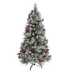 Puleo International 4.5' Pre-Lit Potted Sterling Pine  Christmas Tree
