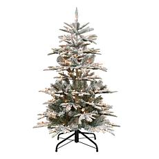 Puleo International 4.5' Pre-Lit Slim Flock Aspen Fir  Christmas Tree