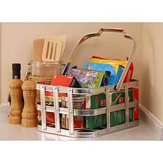 "Puleo International 6"" Galvanized Metal Basket for Storage w/ Handle"