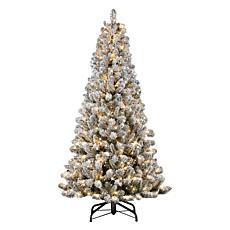 Puleo International 6.5' Pre-lit Flocked Vermont Pine Christmas Tree