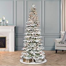 Puleo International 7.5' Lit Flocked Slim Spruce Artificial Tree