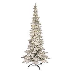 Puleo International 7.5' Pre-Lit Flocked Slim Pine Artificial Tree